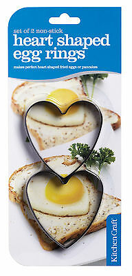 Kitchen Craft Heart Shaped Egg Rings, Non-stick Set of 2