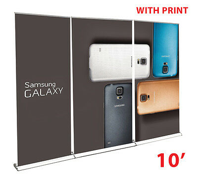 RapidScreen Retractable Roll Up Banner Stand Wall 10' + free vinyl print