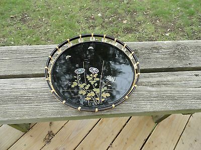 OLD JAPANESE MOTHER OF PEARL BLACK LACQUER ROUND TRAY BUTTERFLIES