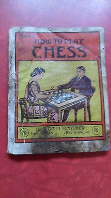Early 1900's Paperback Book #43 How to Play Chess Gem Library I.M.OTTENHEIMER