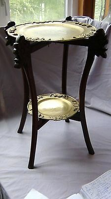 ANTIQUE19c CHINESE TWO-TIER FOLDABLE FRAME TABLE WITH 2 BRASS GRATE MOTIFS TRAYS