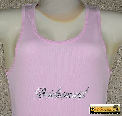 """BRIDESMAID"" Pink Tank Top American Apparel Shirt Wedding Junior Womens Size"