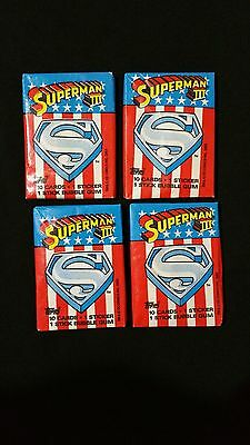 1983 Topps Superman 3 Wax Pack 4 Pack Lot