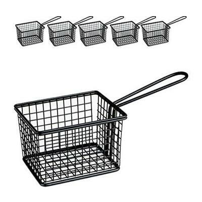 6x Fryer Style Serving Basket 120x100mm, Black, Chips / Fries / Sides / Tapas