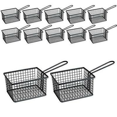 12x Fryer Style Serving Basket 142x114mm, Black, Chips / Fries / Sides / Tapas