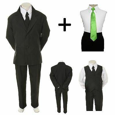 New Baby Toddler Boy Black Formal Wedding Party Suit Tuxedo + Lime Necktie 2-4T