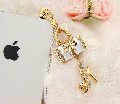 Crystal 3D Headphone Earphone 3.5mm Anti Dust Plug Cap Charm for iPhone Samsung