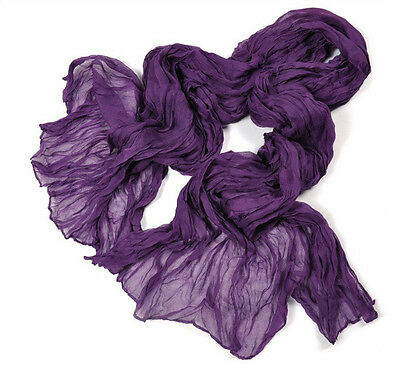 Womens Girls Soft Crinkle Long Pure Candy Scarfs Wraps Shawl Stole Rubber Purple