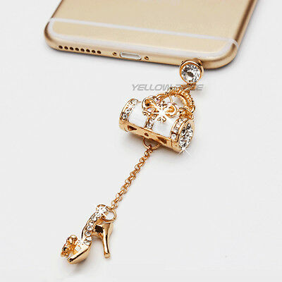 Luxury Crystal Dismond Bag Shoes 3.5mm Antidust Anti Dust ear cap for Samsung S6