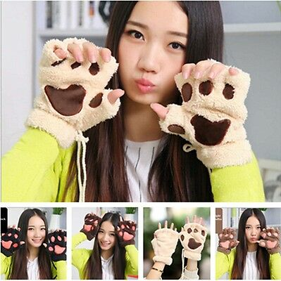 Lovely Women's Mitten Fuzzy Half Finger Gloves Thick Bear's Paw Furry Mitts - 6A