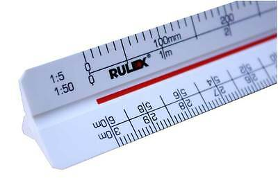 Rulex 30cm metric triangular architects scale ruler with 12 different scales