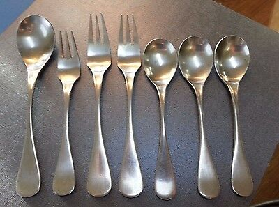 OSLO by PRESENT Satin Stainless 7pc LOT Korea Spoons Forks Flatware