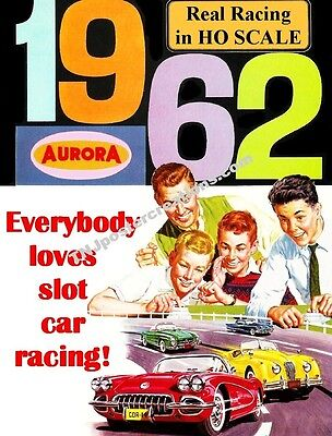 1962 Aurora HO Scale Slot Car Racing Poster-Everybody Loves Slot Car Racing!