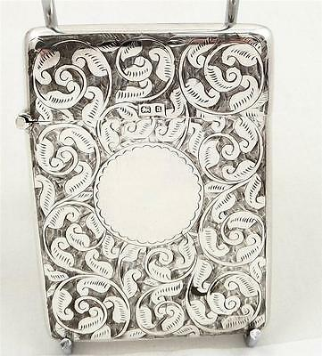 LOVELY ANTIQUE HALLMARKED STERLING SILVER CARD CASE - 1900