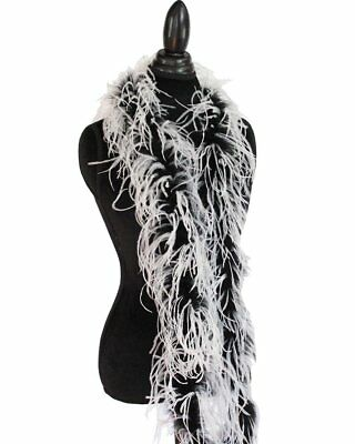 """1 ply 72"""" White/Black Ostrich Feather Boa, High Quality Cynthia's Feathers"""