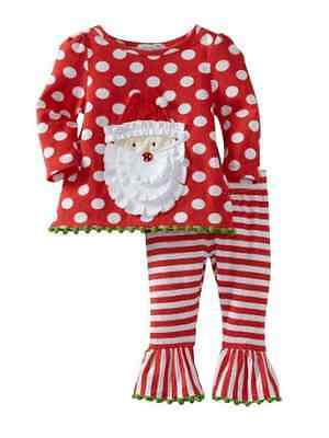 NWT Mud Pie Baby Girl Holiday Santa Top & Flared Pants-Size 0-6 Months