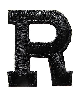 1 34 black letter r embroidery iron on applique patch