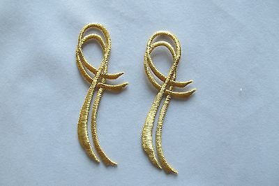 #3532 Lot 2Pcs Gold Trim Fringe Boho Art Embroidery Iron On Applique Patch