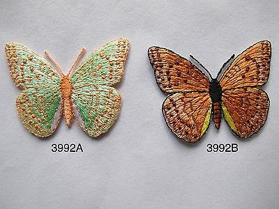 3992 Brown,Green Butterfly Embroidery Iron On Applique Patch