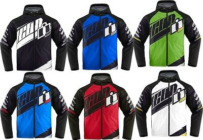 Icon Team Merc D30 armored motorcycle riding textile jacket Black White Red Blue