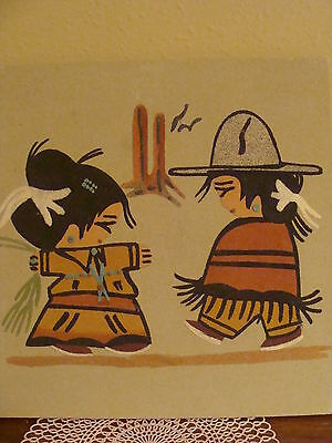 SOUTHWESTERN INDIAN SAND PAINTING 12 X 12 signed CUTE BOY+GIRL