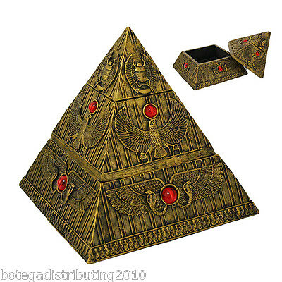 Ancient Egyptian Gods Jewelry Trinket Box Pyramid Shape Horus Isis Figurine
