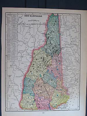 1903 Cram  Antique MAP VERMONT / NEW HAMPSHIRE 112 Years Old