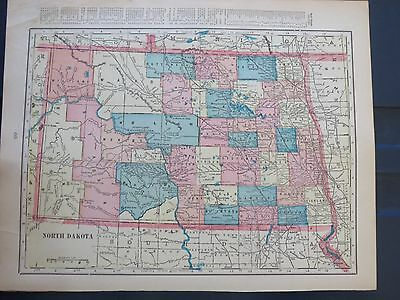 1903 Cram  Antique MAP NORTH DAKOTA   102 Years Old