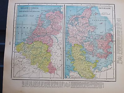 1903 Cram  Antique   MAP HOLLAND BELGIUM  DENMARK Neatherlands