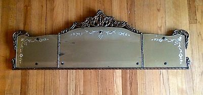 Antique 3 Panel Buffet Mirror Etched Flower Ornate Carved Wood Frame French