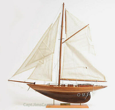 "Eric Tabarly's Yacht Pen Duick Wooden Model Sailboat 24"" Fully Assembled New"