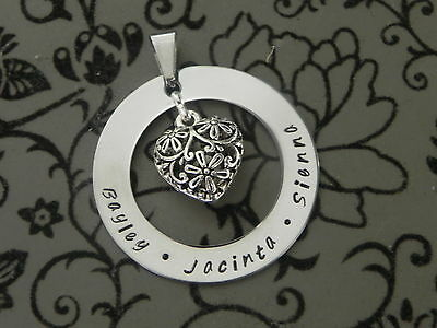Personalised  Hand Stamped Family Name Jewellery Pendant/Necklace
