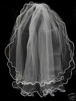 Girls 1st Communion Wedding White Veil 2 Layers Tulle Headpiece with Comb 30