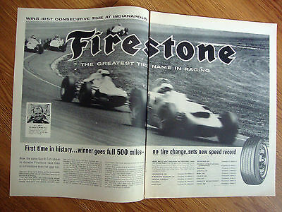 1964 Firestone Tire Ad  Indianapolis Indy 500 Race  A J Foyt