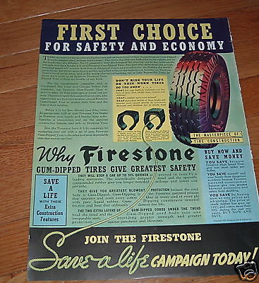 1937 Firestone Ad First Choice for Safety & Economy