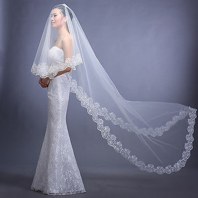New White Cathedral Length Lace Edge Bride Wedding Bridal Veil US Stock