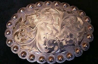 Vogt Mexico Solid Sterling Silver 10k concho belt buckle etched flower blank EUC