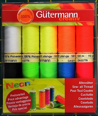 GUTERMANN, Sew-All 100m NEON Thread 10 Spool Pack Assorted Shades 100% Polyester