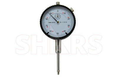 "Shars 1"" High Precision Dial Indicator .001"" Agd 2 Graduation Lug Back White New"