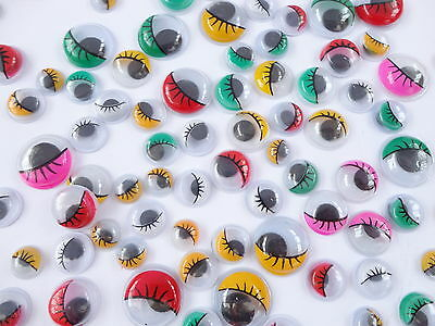 100 x COLOURED WIGGLY WIGGLE EYES GOOGLY CRAFT WITH EYELASHES - ARTS KIDS FUN