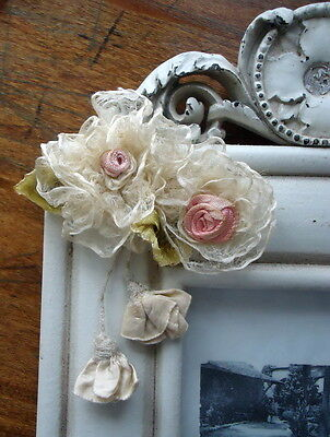 OOAK VICTORIAN SHEEREST SILK ROSES, ROSEBUDS OMBRE RIBBON & CASCADING BUDS