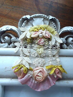 OOAK VICTORIAN FRENCH LACE APPLIQUE WITH OMBRE ROSES AND LEAVES