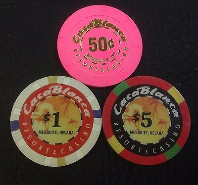 Set Of 3 Casablanca 50¢-$1-$5 Casino Chips Mesquite Nv H&C Mold Free Shipping