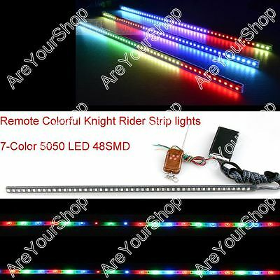 "24"" 7-Color 5050 LED 48SMD Remote Colorful Knight Rider Strip lights Grille"