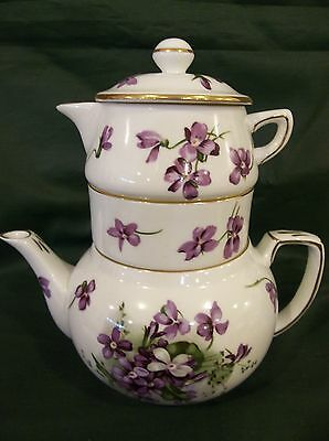 """Hammersley """"Victorian Violets"""" Pattern Stacking Teapot """"Tea for One"""""""