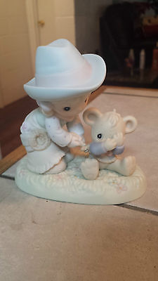"""PRECIOUS MOMENTS """"I CAN'T BEAR TO LET YOU GO"""" 532037 GIRL ROPING IN A TEDDY BEAR"""