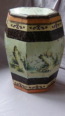 ANTIQUE 19c CHINESE HAND PAINTED WOODEN RICE OCTAGONAL BARREL W/LIFTED LID