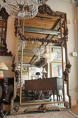 17th Century Hand Carved Large Gilded Ornate Floor Mirror French Italian Rococo