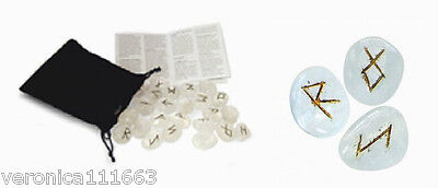 Clear Quartz Crystal Viking Runes NEW Sealed 25 Engraved Stones Bag Instructions