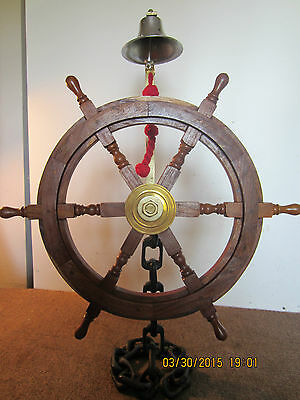 Anchor Chain, Helm Stand With Wheel & Bell